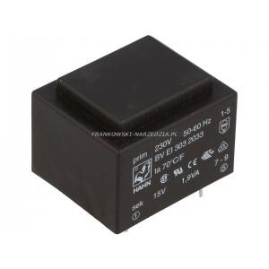 Transformator 230 VAC, 15V 126mA, 1,9VA, zalewany, wymiary zewnętrzne 32.5 x 27.5 x 23.8mm, HAHN