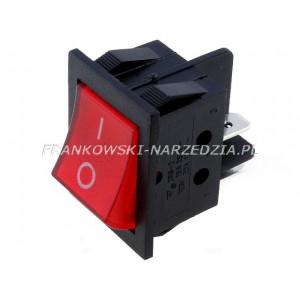 Wyłącznik klawiszowy IRS-2 łączenie ON-OFF, 15A /250V, CZERWONY podświetlany, wymiary otworu montażowego 22x31mm,