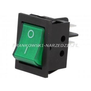 Wyłącznik klawiszowy IRS-2 łączenie ON-OFF, 15A /250V, ZIELONY podświetlany, wymiary otworu montażowego 22x31mm,