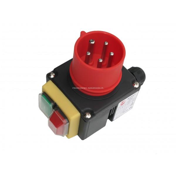 Wyłącznik zanikonapięciowy KOA7 firmy kedu, cewka 400V, AC3-12A, IP54, z wtyczką 3P+N+Z, obrotnica faz