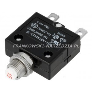 Wyłącznik nadprądowy, bezpiecznik 15A, Uznam: 250VAC, 50VDC