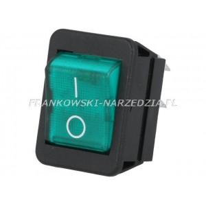 Wyłącznik klawiszowy C1353AB łączenie ON-OFF, 16A /250V, ZIELONY podświetlany, wymiary otworu montażowego 30x22,1mm,