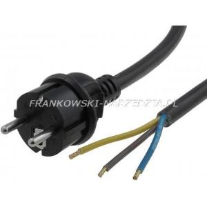 Przewód zasilający 3x2,5mm2, długość 3m, H05RR-F gumowy wtyczka prosta