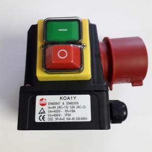 Wyłącznik zanikonapięciowy 400V, cewka 400V, KOA1Y firmy KEDU,AC3-12A, z wtyczką 3P+N+E, obrotnica faz