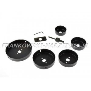 Zestaw otwornic 64 - 127 mm do drewna, płyt gipsowo-kartonowych, płyt wiórowych oraz tworzyw sztucznych.