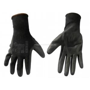 BHP - Rękawice ochronne GEKON rozmiar 9 czarne, powlekane poliuretanem, cienkie