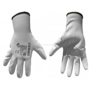 BHP - Rękawice ochronne GEKO rozmiar 9 białe, powlekane poliuretanem, cienkie
